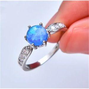 Blue Imitation Opal Zircon Fashion Silver Ring 10